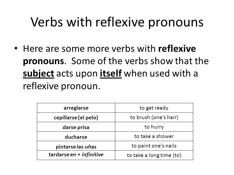 Verbs with reflexive pronouns