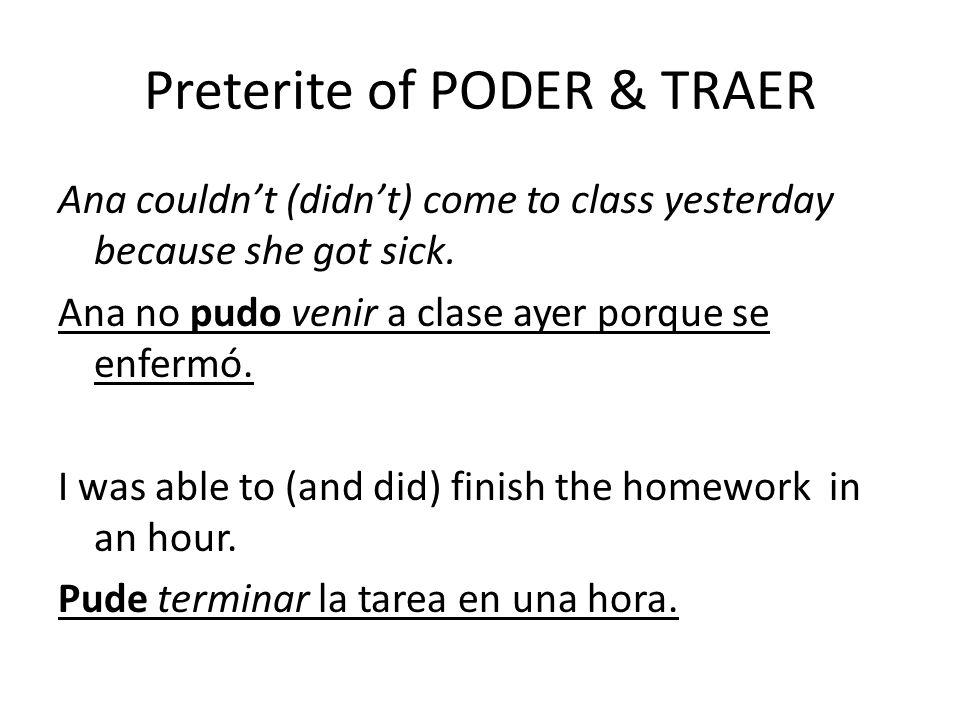 Preterite of PODER & TRAER
