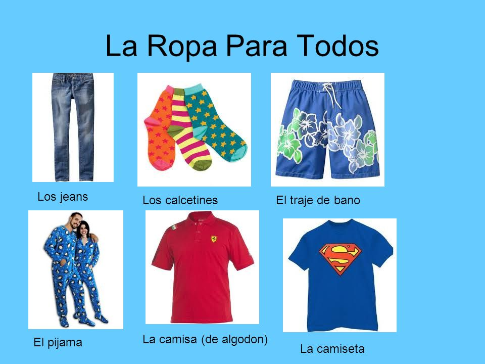 La Ropa Para Todos Los jeans Los calcetines El traje de bano