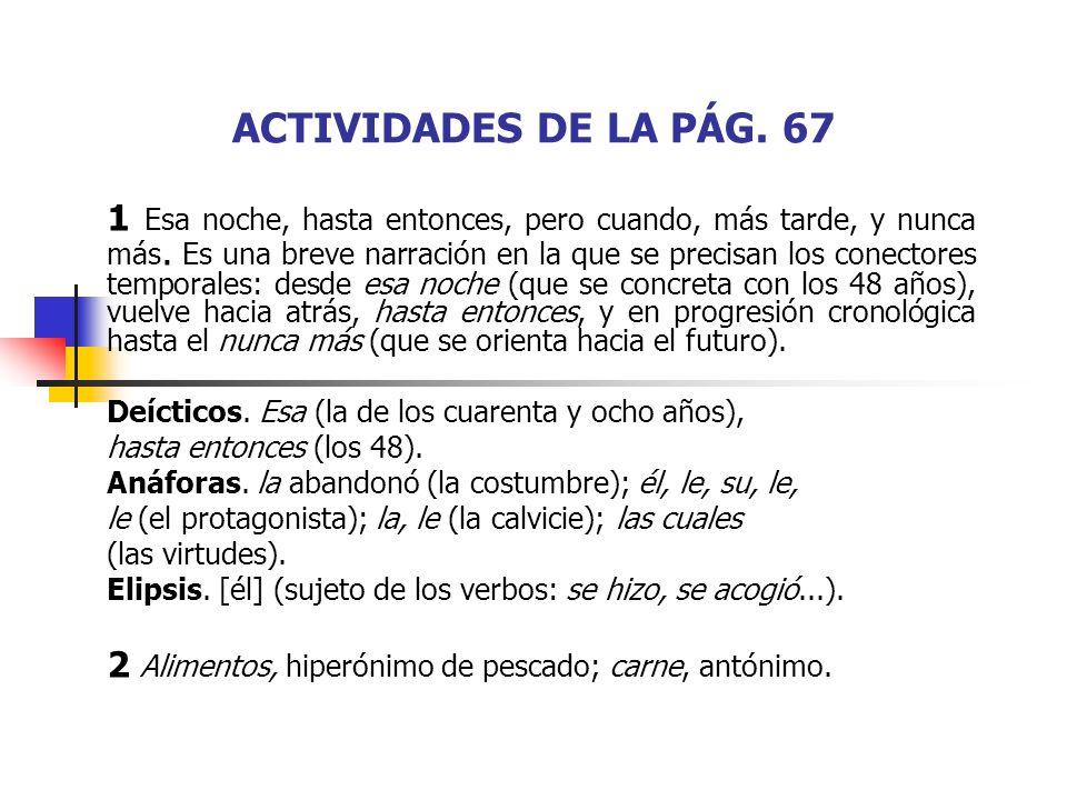 ACTIVIDADES DE LA PÁG. 67