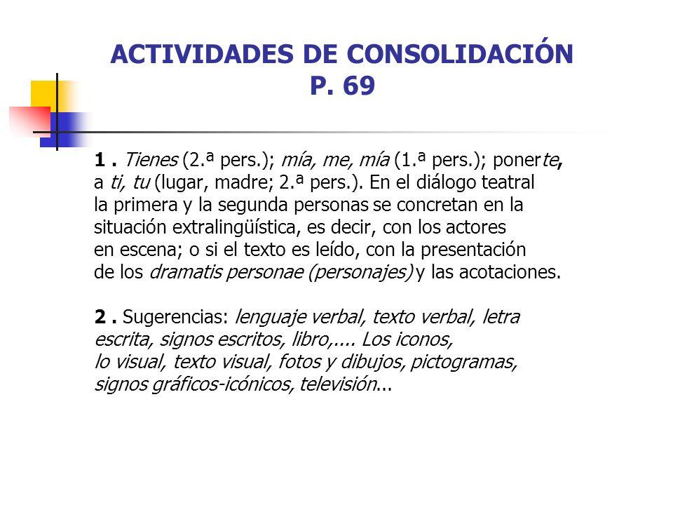 ACTIVIDADES DE CONSOLIDACIÓN P. 69