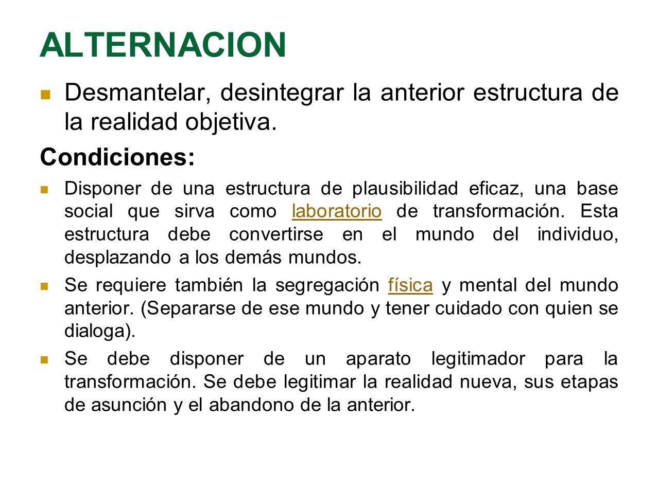 ALTERNACION Desmantelar, desintegrar la anterior estructura de la realidad objetiva. Condiciones: