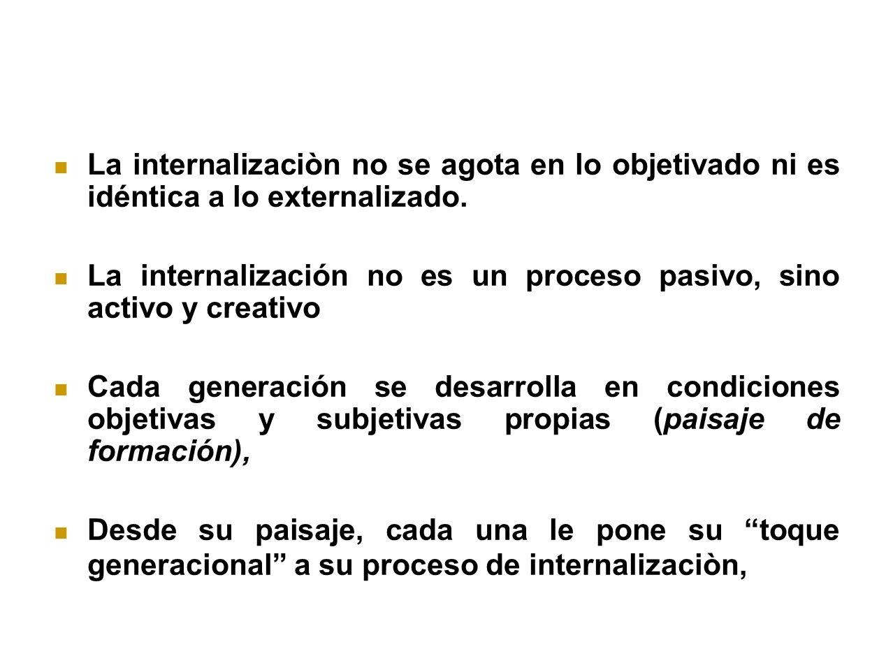 La internalizaciòn no se agota en lo objetivado ni es idéntica a lo externalizado.
