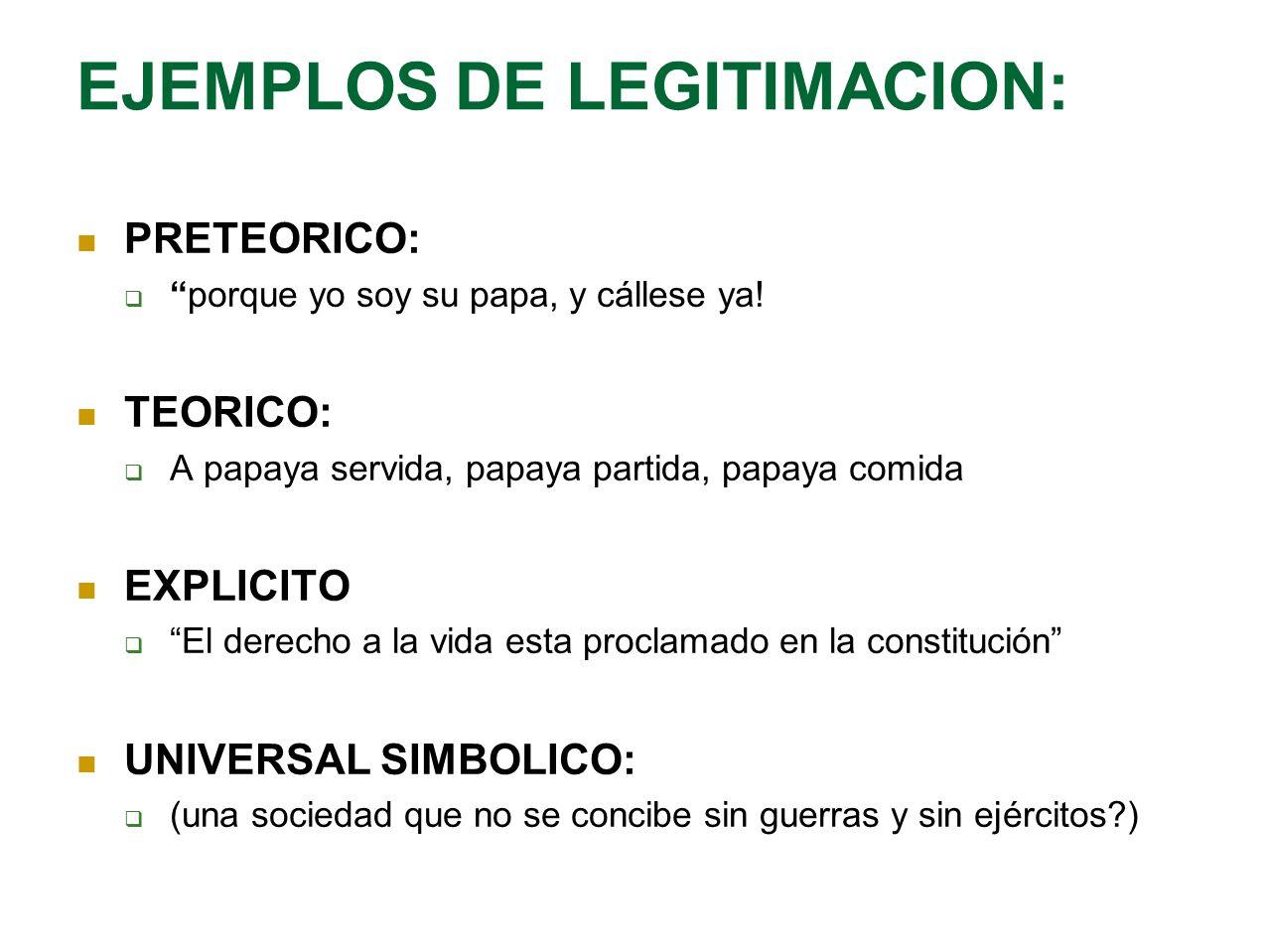 EJEMPLOS DE LEGITIMACION:
