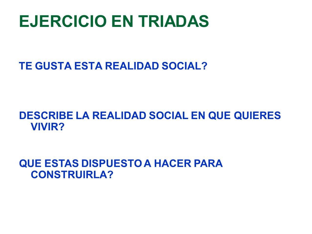 EJERCICIO EN TRIADAS TE GUSTA ESTA REALIDAD SOCIAL