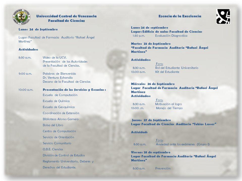 Universidad Central de Venezuela Esencia de la Excelencia
