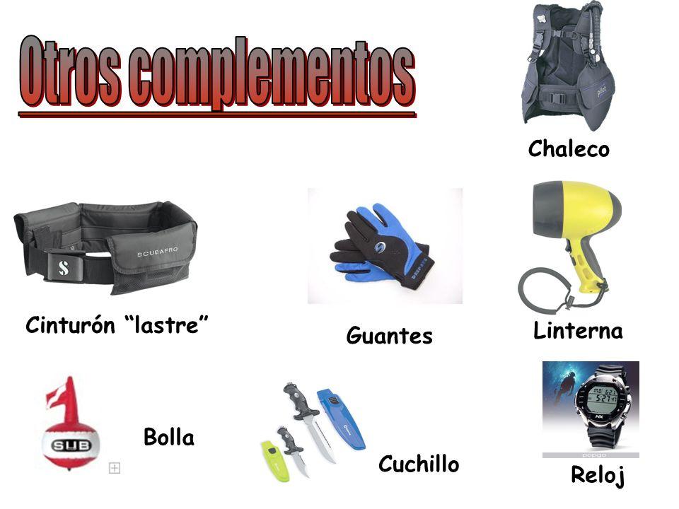 Otros complementos Chaleco Cinturón lastre Linterna Guantes Bolla