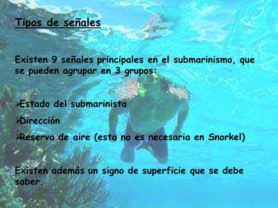 Tipos de señales Existen 9 señales principales en el submarinismo, que se pueden agrupar en 3 grupos: