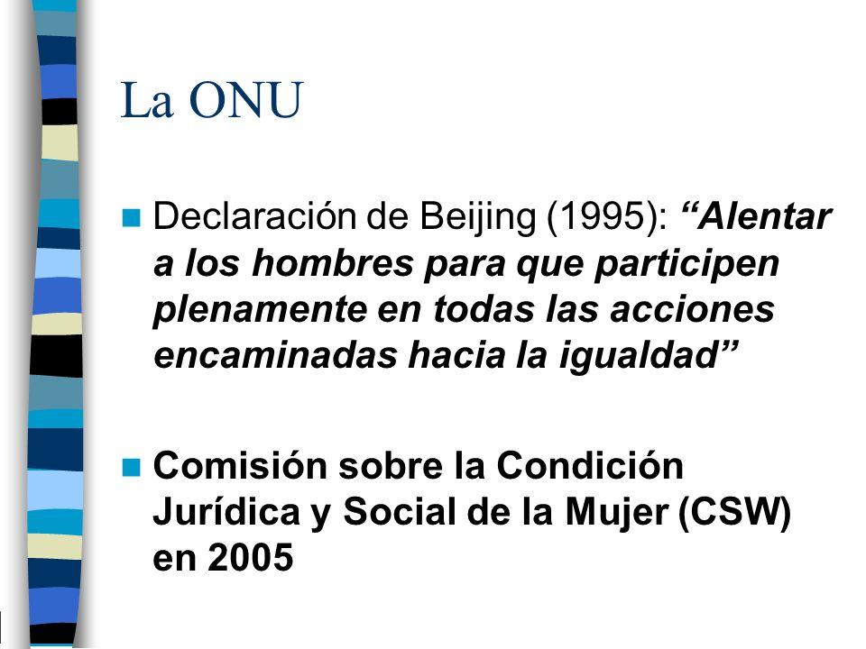 La ONU Declaración de Beijing (1995): Alentar a los hombres para que participen plenamente en todas las acciones encaminadas hacia la igualdad