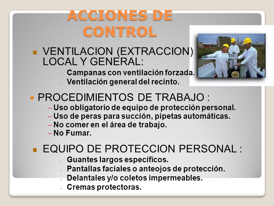 ACCIONES DE CONTROL VENTILACION (EXTRACCION) LOCAL Y GENERAL: