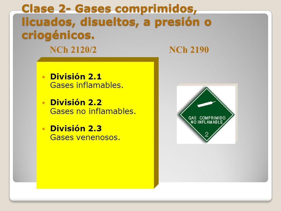 Clase 2- Gases comprimidos, licuados, disueltos, a presión o criogénicos.