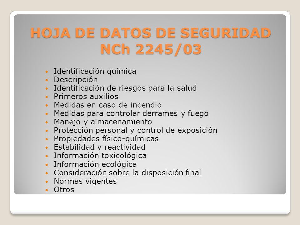 HOJA DE DATOS DE SEGURIDAD NCh 2245/03