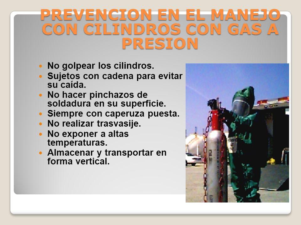 PREVENCION EN EL MANEJO CON CILINDROS CON GAS A PRESION
