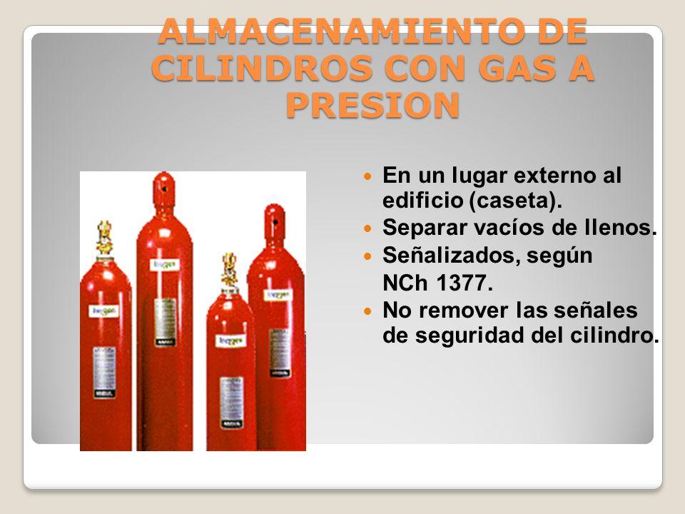 ALMACENAMIENTO DE CILINDROS CON GAS A PRESION