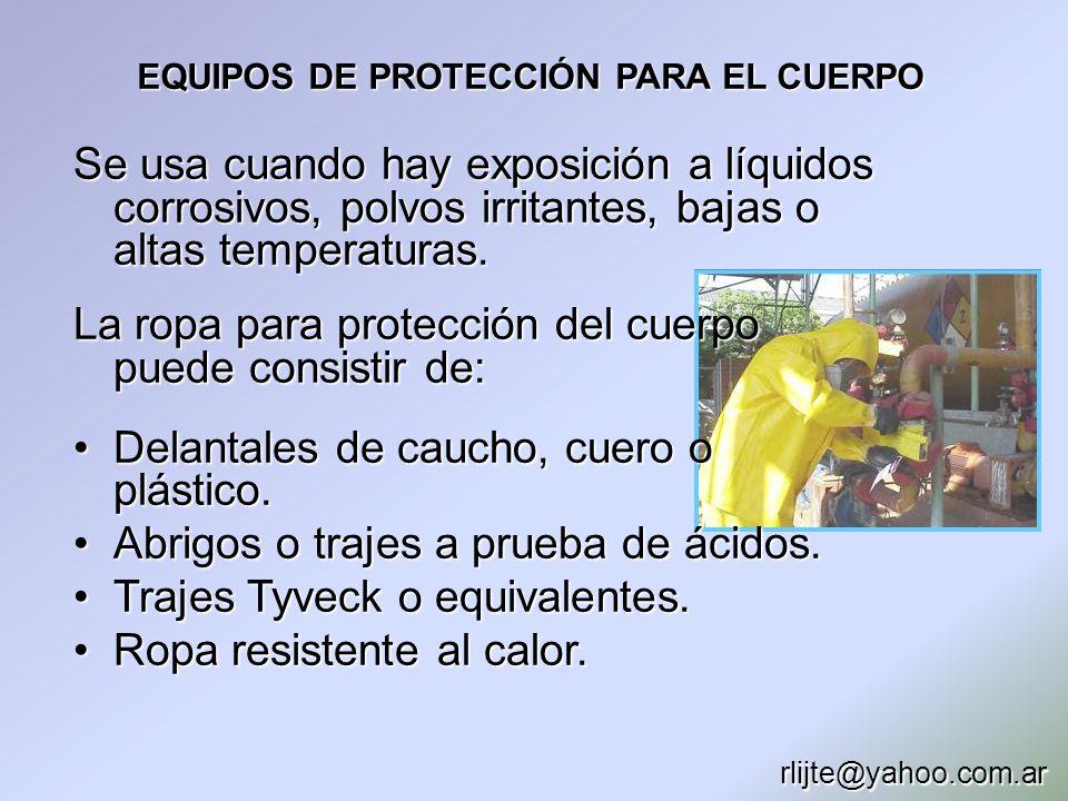 EQUIPOS DE PROTECCIÓN PARA EL CUERPO