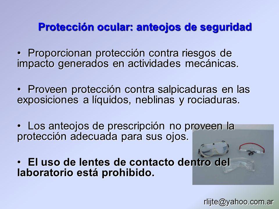 Protección ocular: anteojos de seguridad