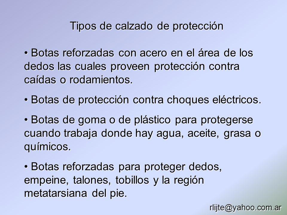 Tipos de calzado de protección