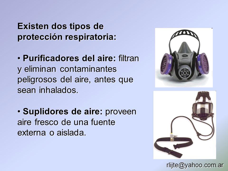 Existen dos tipos de protección respiratoria: