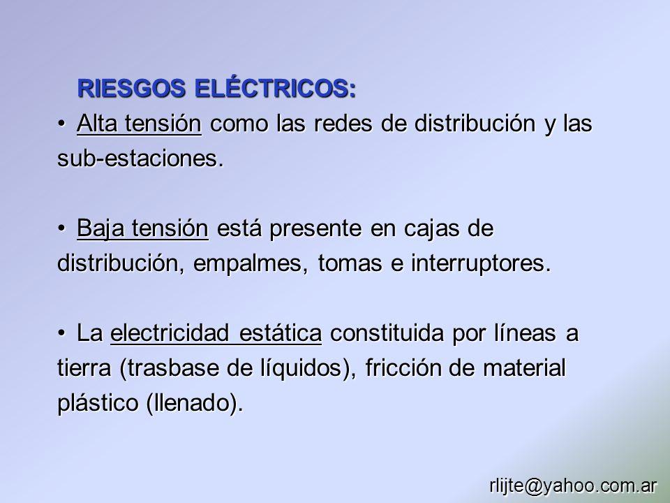 Alta tensión como las redes de distribución y las sub-estaciones.