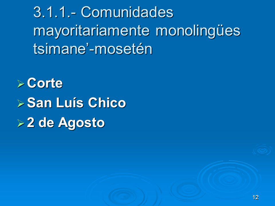 3.1.1.- Comunidades mayoritariamente monolingües tsimane'-mosetén