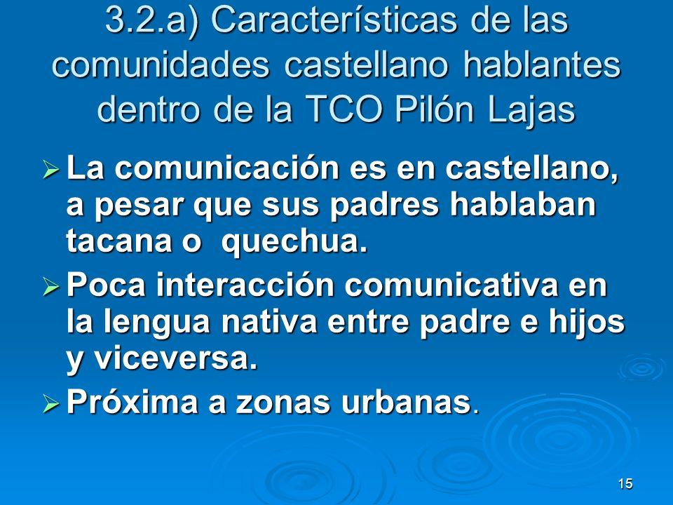 3.2.a) Características de las comunidades castellano hablantes dentro de la TCO Pilón Lajas