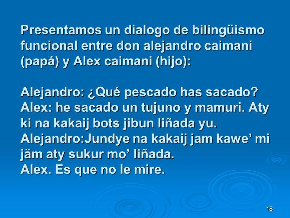 Presentamos un dialogo de bilingüismo funcional entre don alejandro caimani (papá) y Alex caimani (hijo): Alejandro: ¿Qué pescado has sacado.