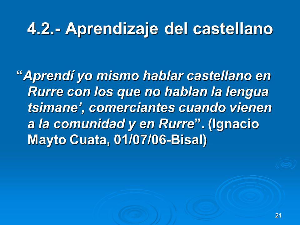 4.2.- Aprendizaje del castellano