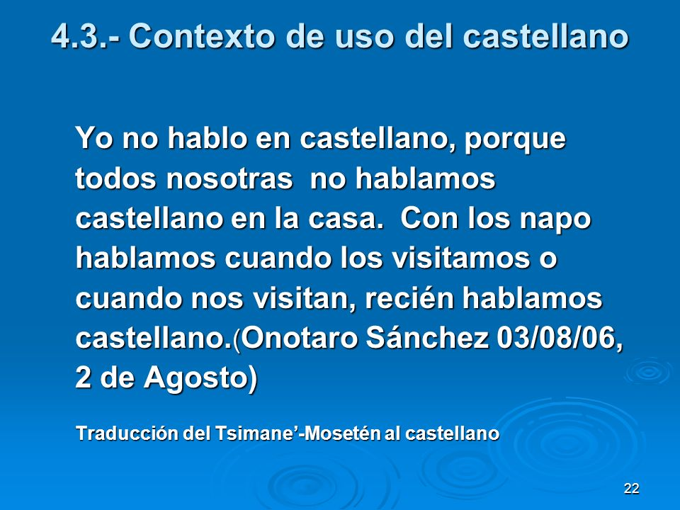 4.3.- Contexto de uso del castellano
