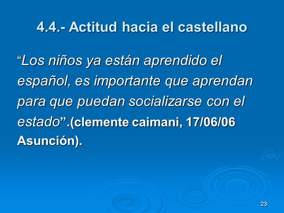 4.4.- Actitud hacia el castellano