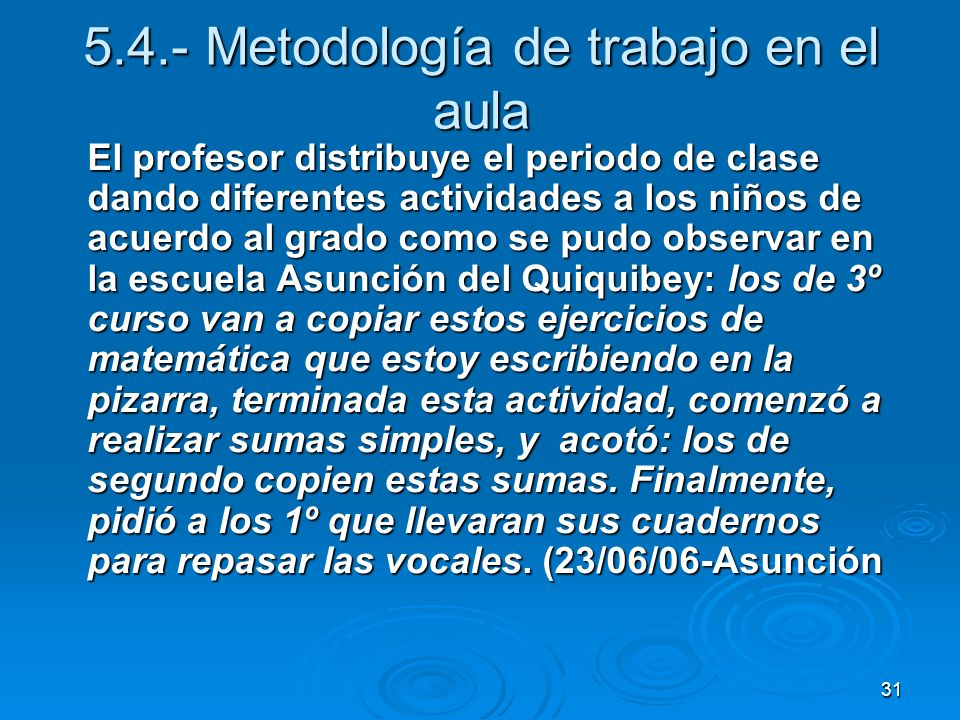 5.4.- Metodología de trabajo en el aula