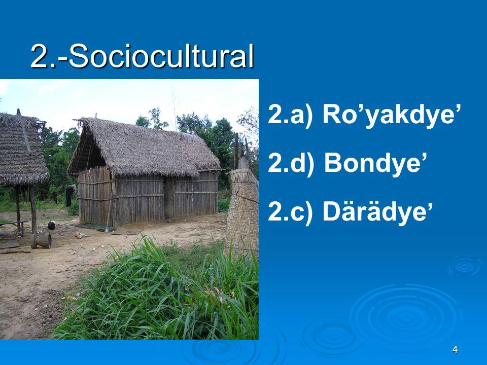 2.-Sociocultural 2.a) Ro'yakdye' 2.d) Bondye' 2.c) Därädye'