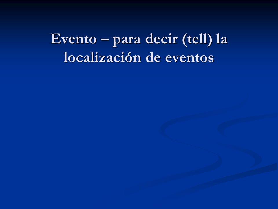 Evento – para decir (tell) la localización de eventos
