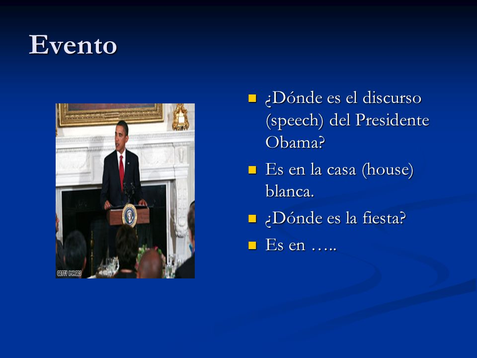 Evento ¿Dónde es el discurso (speech) del Presidente Obama