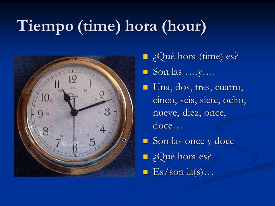 Tiempo (time) hora (hour)