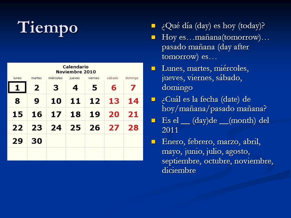 Tiempo ¿Qué día (day) es hoy (today)