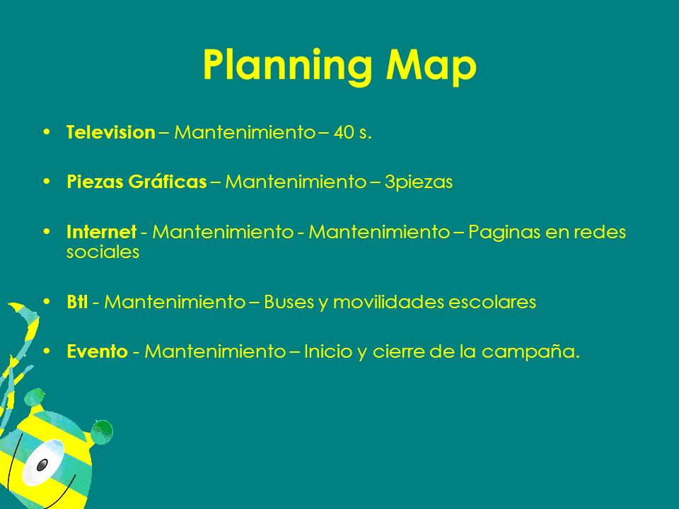 Planning Map Television – Mantenimiento – 40 s.