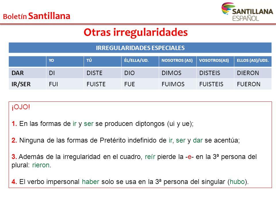 Otras irregularidades IRREGULARIDADES ESPECIALES
