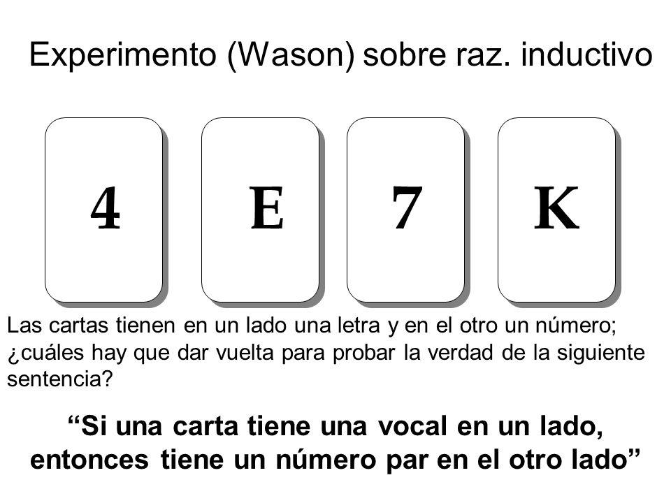 Experimento (Wason) sobre raz. inductivo