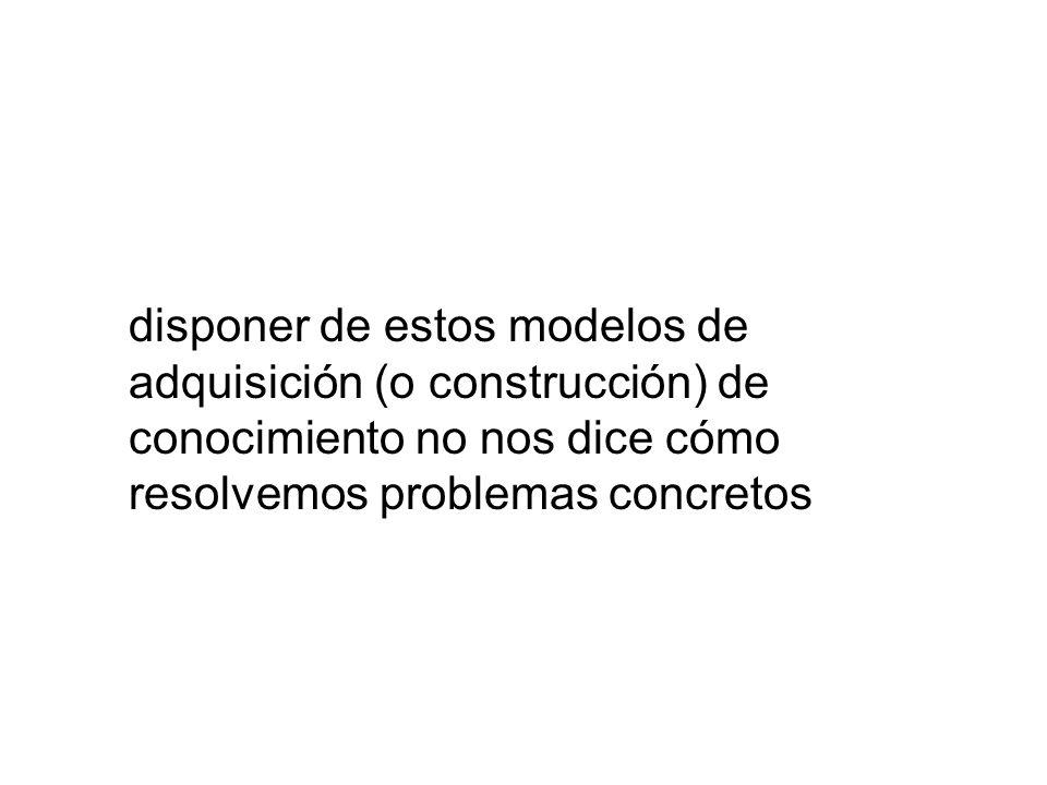 disponer de estos modelos de adquisición (o construcción) de conocimiento no nos dice cómo resolvemos problemas concretos