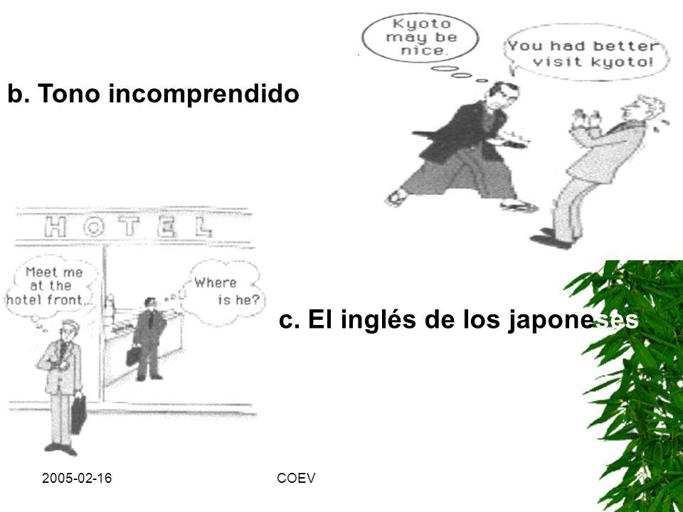 c. El inglés de los japoneses