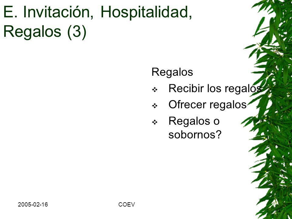 E. Invitación, Hospitalidad, Regalos (3)