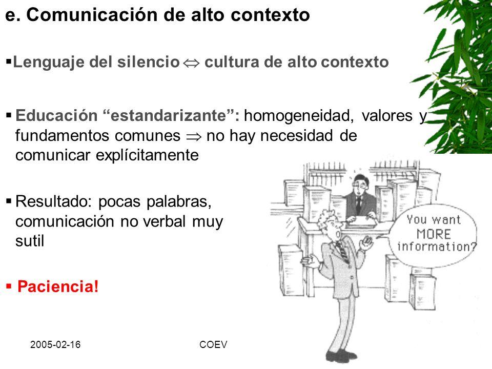 e. Comunicación de alto contexto