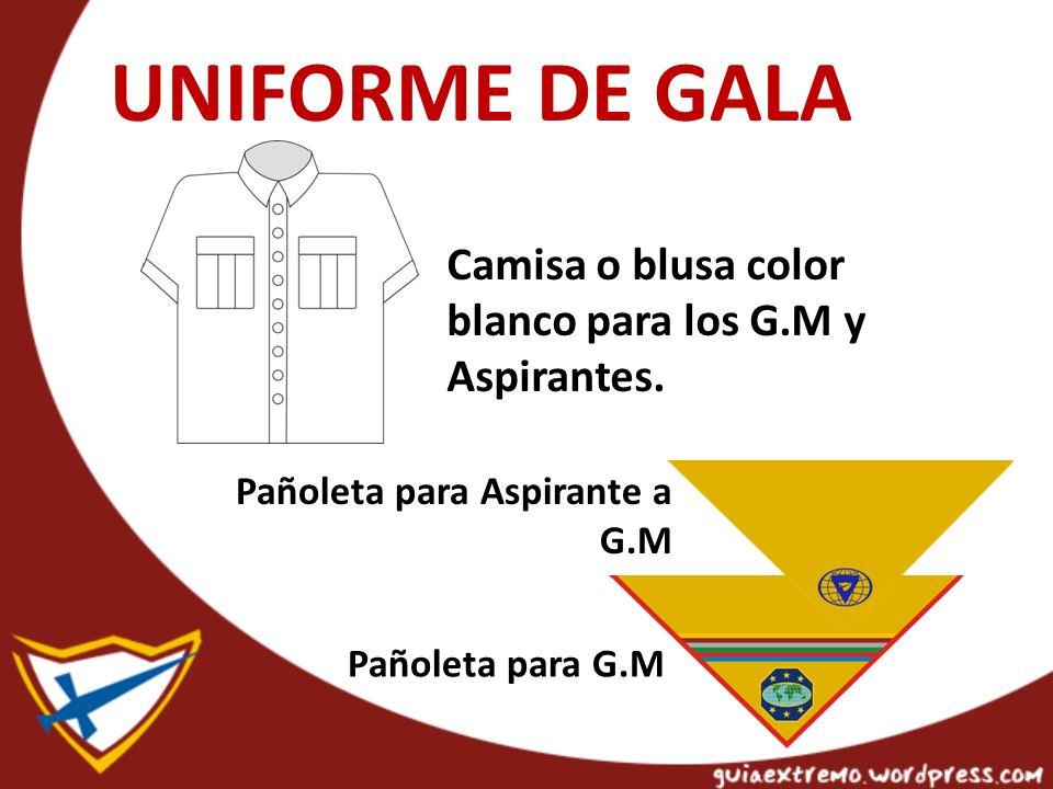 UNIFORME DE GALA Camisa o blusa color blanco para los G.M y Aspirantes. Pañoleta para Aspirante a G.M.