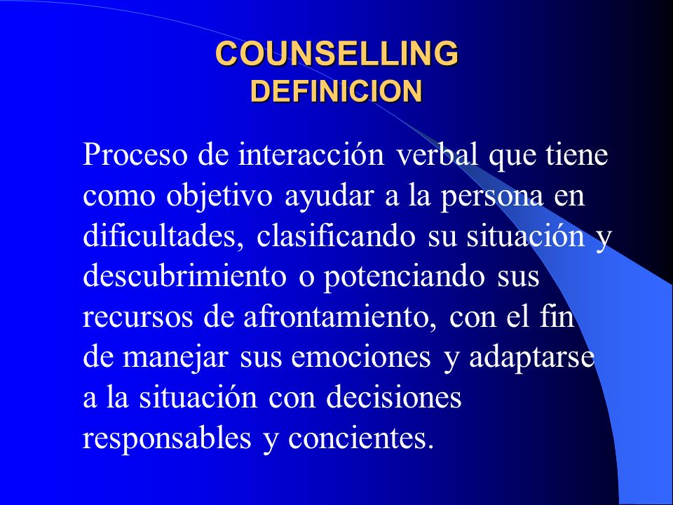 COUNSELLING DEFINICION