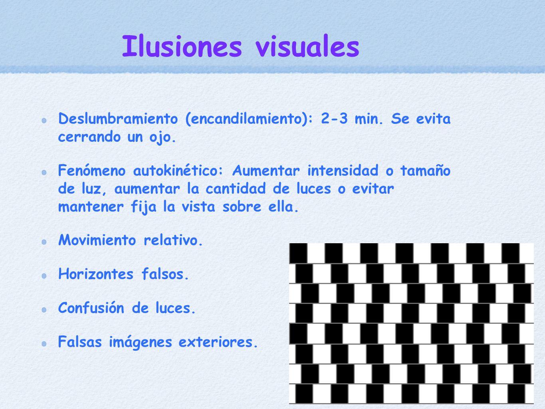 Ilusiones visuales Deslumbramiento (encandilamiento): 2-3 min. Se evita cerrando un ojo.