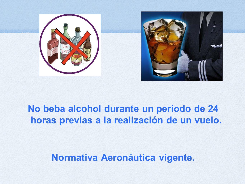 No beba alcohol durante un período de 24 horas previas a la realización de un vuelo.