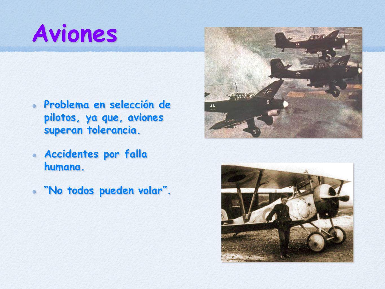 Aviones Problema en selección de pilotos, ya que, aviones superan tolerancia. Accidentes por falla humana.