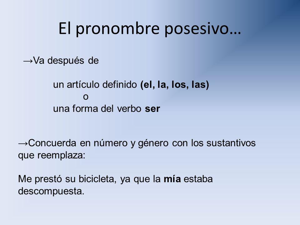 El pronombre posesivo…