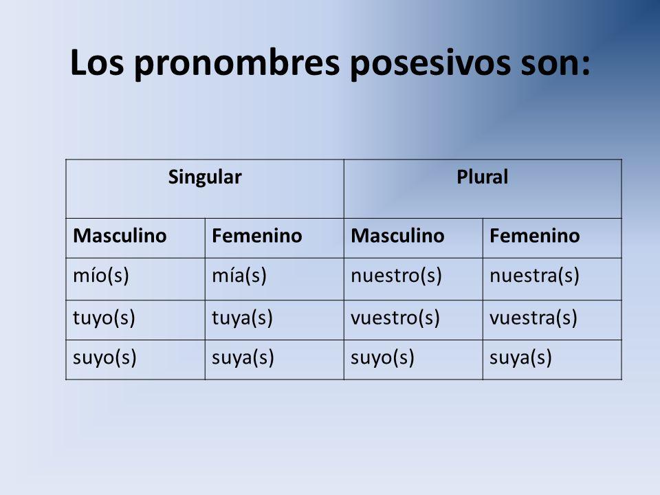 Los pronombres posesivos son: