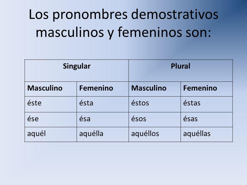 Los pronombres demostrativos masculinos y femeninos son: